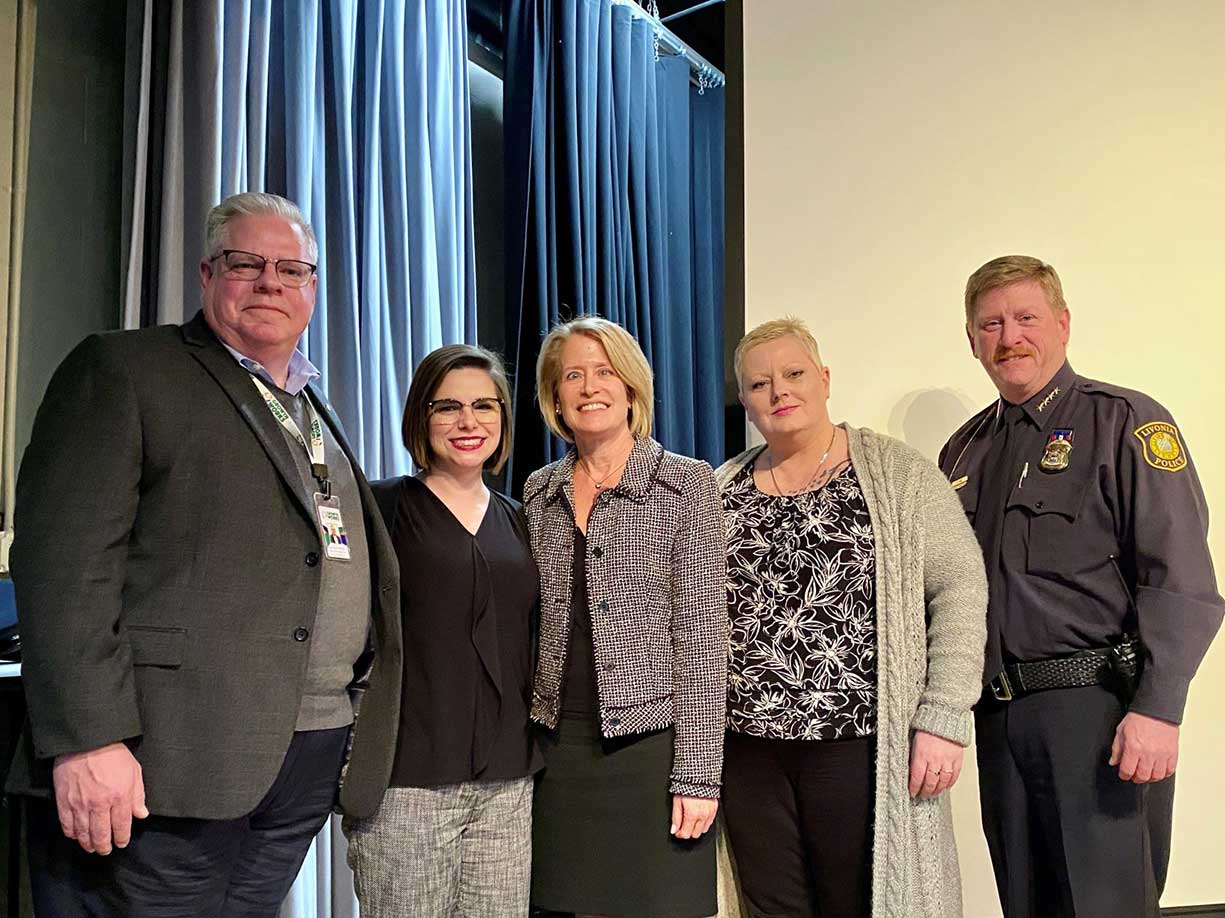 State Rep. Laurie Pohutsky (D-Livonia) is joined by Patrick Stropes of Growth Works, Lauren Rousseau of Northwest Wayne County Chapter of Families Against Narcotics, Michele Wagner of Mitchell's Hope, and Livonia Police Chief Curtis Caid for a community town hall on the ongoing opioid crisis at the Livonia Civic Center on March 5, 2020.
