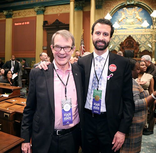 State Rep. Yousef Rabhi (D-Ann Arbor) was joined by former UAW President Bob King for Gov. Whitmer's first State of the State address at the state Capitol in Lansing on Tuesday, Feb. 12, 2019.