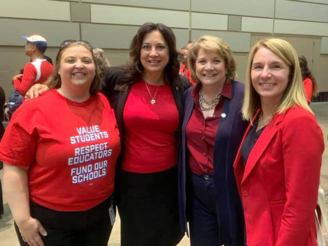 State Rep. Angela Witwer (D-Delta Township) joined with educators and fellow Democratic representatives for a march to the Capitol in June.