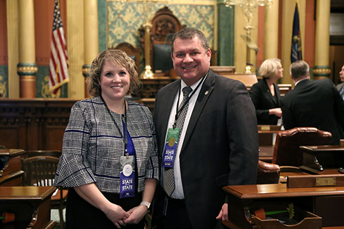 State Rep. Terry Sabo (D-Muskegon) joined by Muskegon Township Supervisor Jennifer Hernandez for Gov. Whitmer's first State of the State address in the Capitol in Lansing on Feb. 12, 2019.