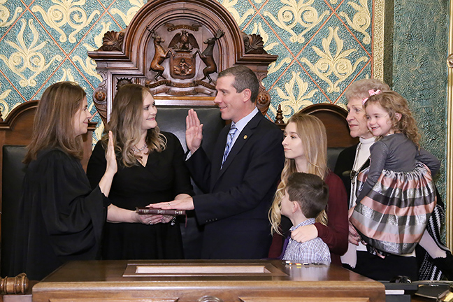 State Rep. Nate Shannon (D-Sterling Heights) was sworn in officially as representative for the 25th House District for the 2019-2020 legislative session, on Wednesday, January 9, 2019. The swearing-in ceremony marked the formal opening of Michigan's 100th Legislature.