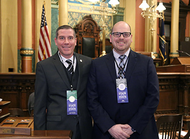State Rep. Nate Shannon (D-Sterling Heights) welcomed Warren Consolidated School Board Trustee Carl Weckerle as his guest for the State of the State Tuesday, February 12, 2019.