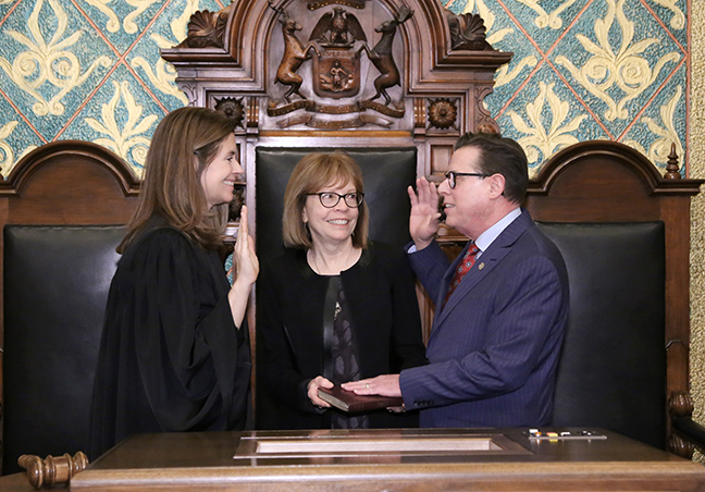 State Rep. William Sowerby (D-Clinton Township) was sworn in officially as representative for the 31st House District for the 2019-2020 legislative session, on Wednesday, January 9, 2019. The swearing-in ceremony marked the formal opening of Michigan's 100th Legislature.