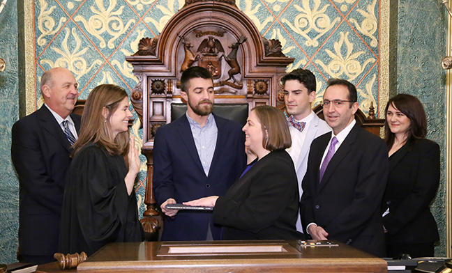 State Rep. Lori Stone (D-Warren) was sworn in officially as representative for the 28th House District for the 2019-2020 legislative session, on Wednesday, January 9, 2019. The swearing-in ceremony marked the formal opening of Michigan's 100th Legislature.
