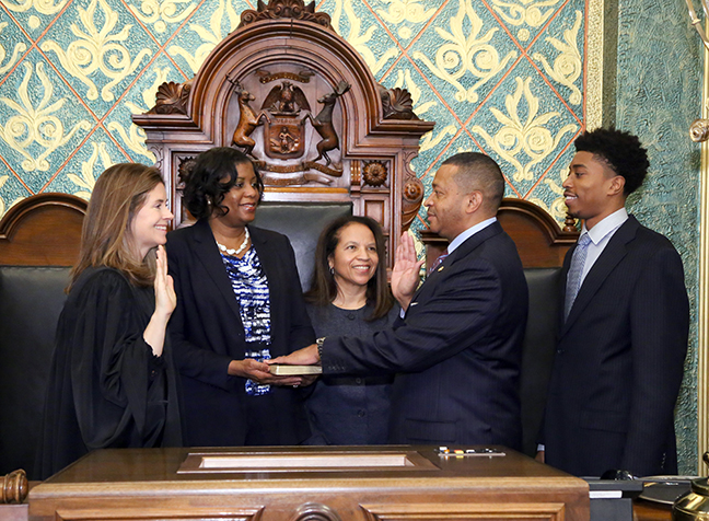 State Rep. Tyrone Carter (D-Detroit) was sworn in officially as representative for the 6th House District for the 2019-2020 legislative session, on Wednesday, January 9, 2019. The swearing-in ceremony marked the formal opening of Michigan's 100th Legislature.