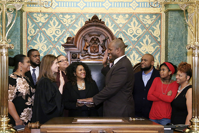State Rep. Joe Tate (D-Detroit) was sworn in officially as representative for the 2nd House District for the 2019-2020 legislative session, on Wednesday, January 9, 2019. The swearing-in ceremony marked the formal opening of Michigan's 100th Legislature.