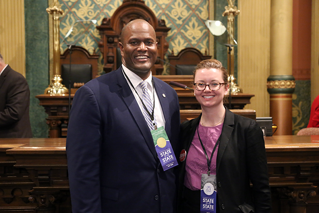 State Rep. Joe Tate (D-Detroit) welcomed Erica Sivertson, strategy manager at Deloitte Consulting, as his guest for the State of the State Tuesday, February 12, 2019.