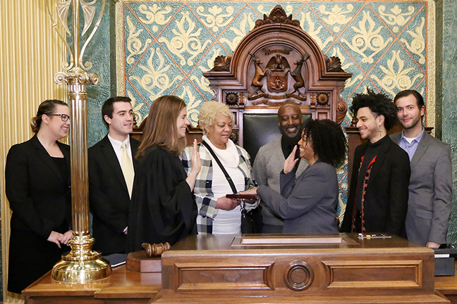 State Rep. Karen Whitsett (D-Detroit) was sworn in officially as representative for the 9th House District for the 2019-2020 legislative session, on Wednesday, January 9, 2019. The swearing-in ceremony marked the formal opening of Michigan's 100th Legislature.
