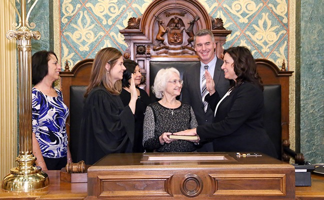 State Rep. Angela Witwer (D-Delta Township) was sworn in officially as representative for the 71st House District for the 2019-2020 legislative session, on Wednesday, January 9, 2019. The swearing-in ceremony marked the formal opening of Michigan's 100th Legislature.
