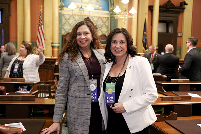 State Rep. Angela Witwer (D-Delta Township) welcomed Lorri Rishar Jandron, CEO of Edge Publicom, as her guest for the State of the State Tuesday, February 12, 2019.