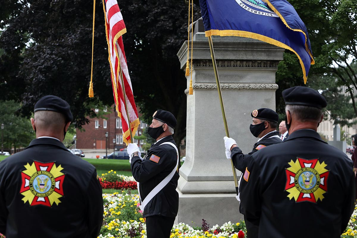 Members of the Ralph Holewinski VFW Post 1518 serve as the color guard during the Legislature's annual 9/11 memorial ceremony at the Capitol on Sept. 10, 2020.