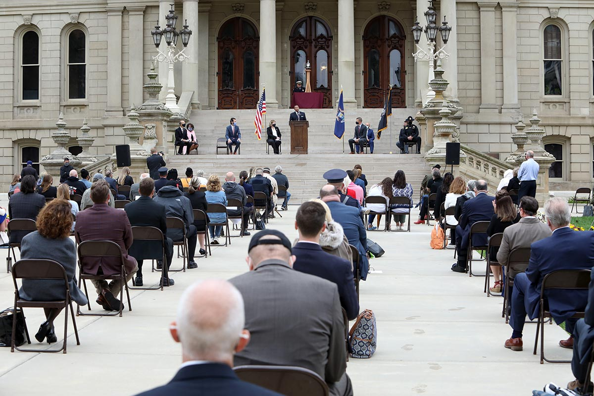 State Rep. Tyrone Carter speaks during a socially distanced and somber 9/11 memorial ceremony at the Capitol on Sept. 10, 2020.