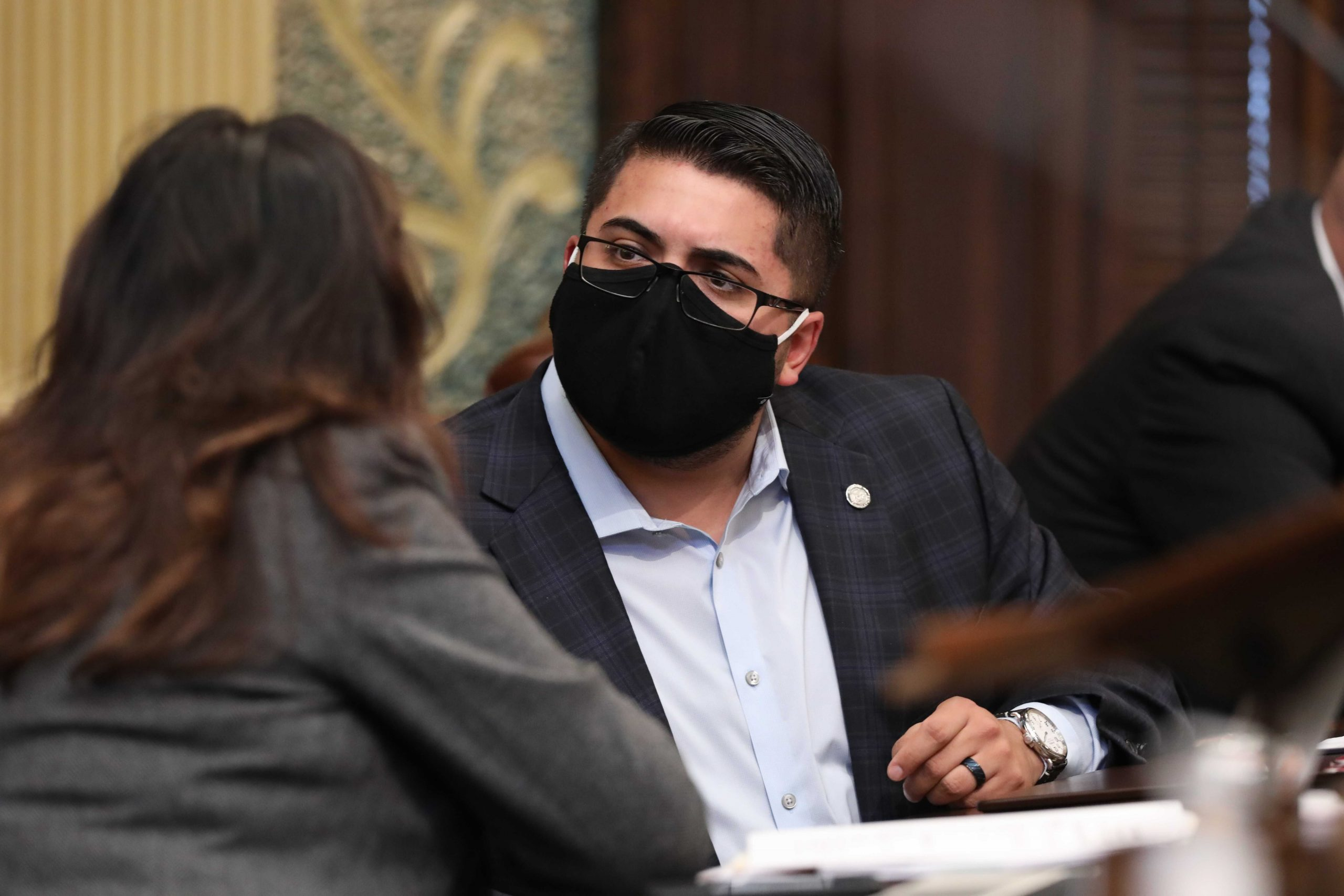 State Rep. Alex Garza (D-Taylor) joining other House Dems in breaking required dress code to protest Republican refusal to require masks on the House floor at the Capitol in Lansing on Oct. 13, 2020.