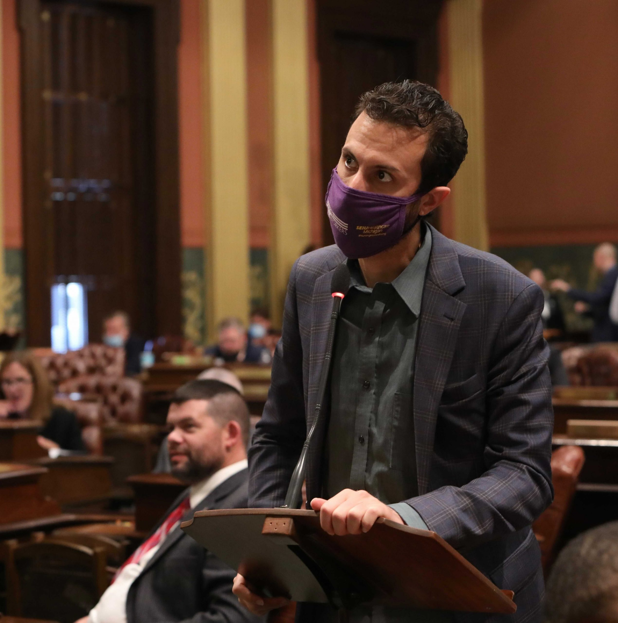 State Rep. Yousef Rabhi (D-Ann Arbor) joining other House Dems in breaking required dress code to protest Republican refusal to require masks on the House floor at the Capitol in Lansing on Oct. 13, 2020.