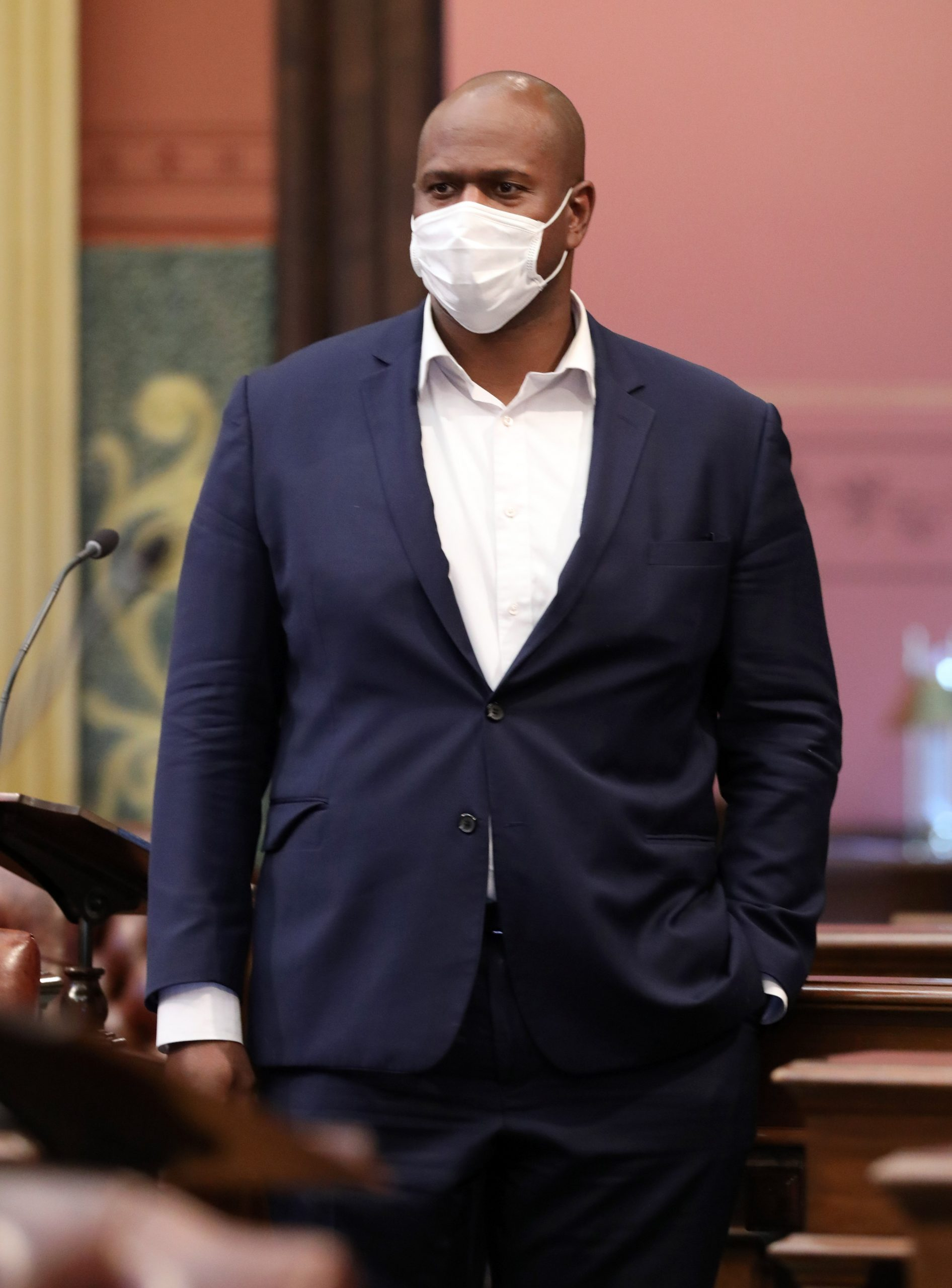 State Rep. Joe Tate (D-Detroit) joining other House Dems in breaking required dress code to protest Republican refusal to require masks on the House floor at the Capitol in Lansing on Oct. 13, 2020.