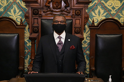 Newly-elected state Rep. Amos O'Neal (D-Saginaw) on the first day of session January 13, 2021.