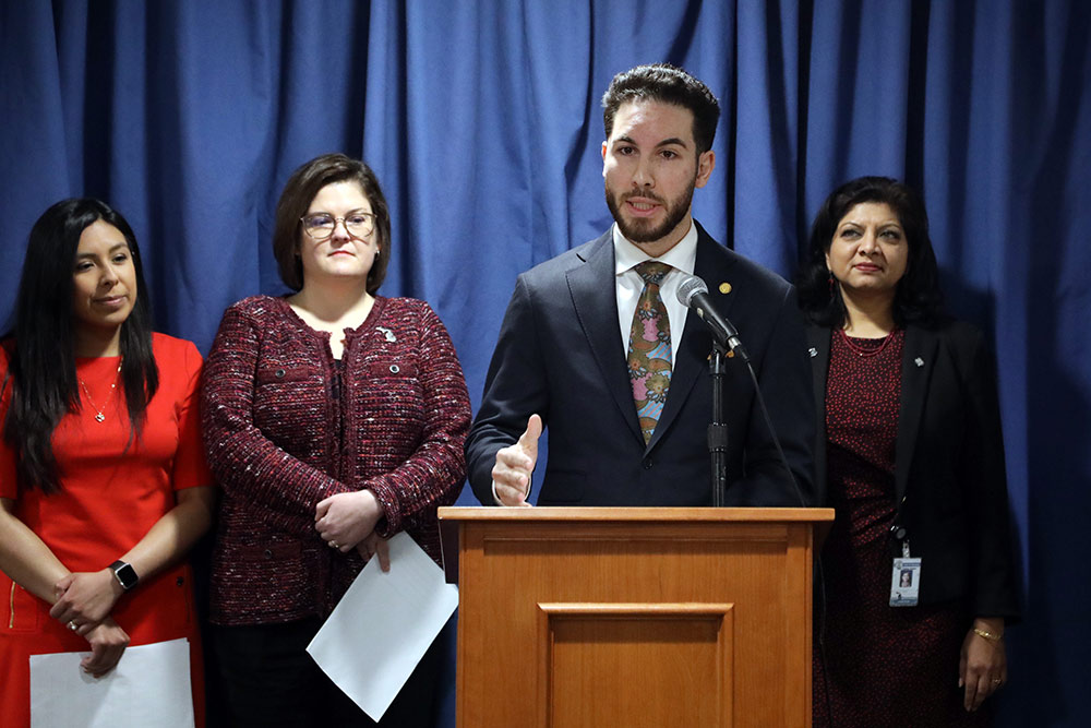 State Rep. Abdullah Hammoud (D-Dearborn) speaking at a House Democrats press conference announcing legislation to lower the cost of prescription drugs on March 5, 2020.