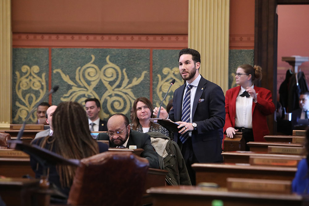State Rep. Abdullah Hammoud (D-Dearborn) speaking on the House floor at the Capitol in Lansing.