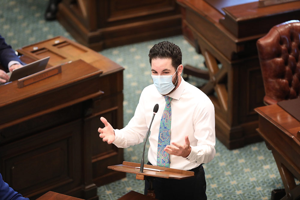 State Rep. Abdullah Hammoud (D-Dearborn) speaking on the House floor at the Capitol in Lansing on May 27, 2020.