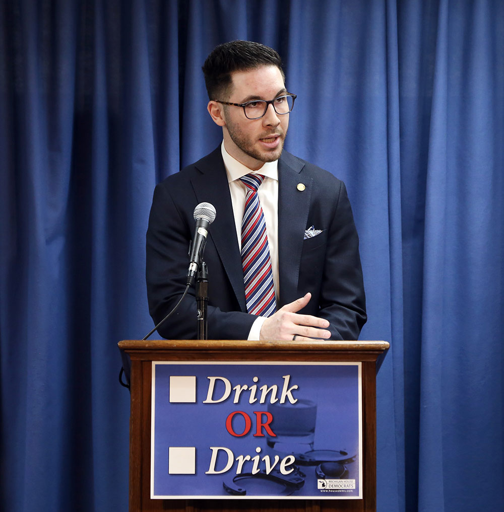 State Rep. Abdullah Hammoud (D-Dearborn) speaking at a House Democrats press conference announcing legislation to curb drunk driving on March 21, 2019.