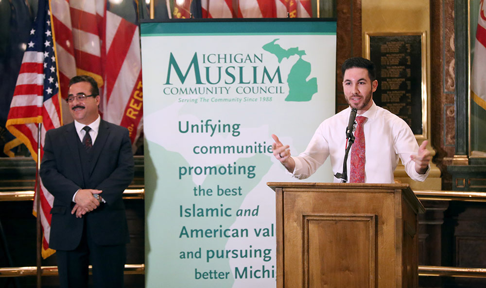 State Rep. Abdullah Hammoud (D-Dearborn) speaking at Muslim Capitol Day, hosted by the Michigan Muslim Community Council, on April 17, 2019.