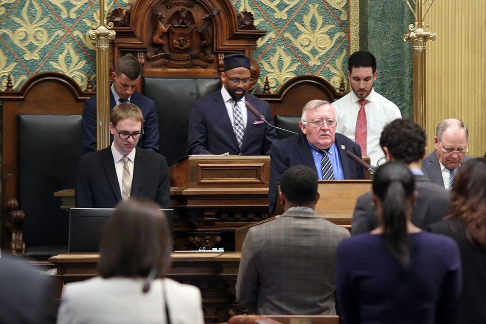 State Rep. Abdullah Hammoud (D-Dearborn) joined Imam Mika'il Stewart Saadiq, Community Outreach Director of the Michigan Muslim Community Council to give the invocation on the House floor at the Capitol in Lansing before session on April, 17, 2019.