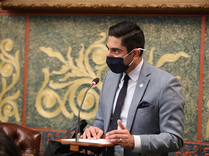 State Rep. Ranjeev Puri (D-Canton) spoke on House Resolution 61, which condemns hate crimes, hateful rhetoric, and hateful acts against Asian Americans and to encourage Michiganders to report hate crimes to the proper authorities, on March 18, 2021.