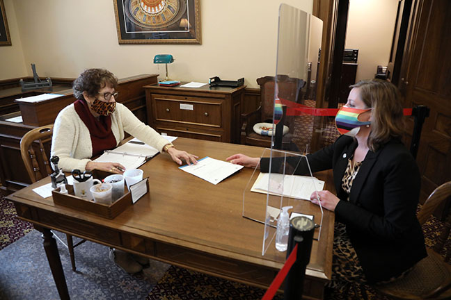 State Rep. Julie M. Rogers (D-Kalamazoo) submitted a bill to prohibit insurance providers from denying insurance coverage based on gender, gender identity or sexual orientation, on March 18, 2021.