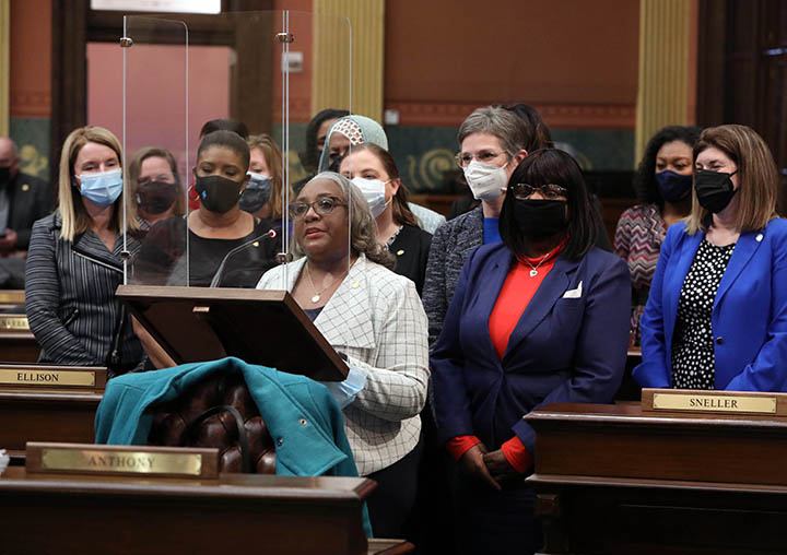 State Rep. Helena Scott (D-Detroit) speaks to her resolution recognizing March 8 as International Women's Day, from the House floor on March 4, 2021.