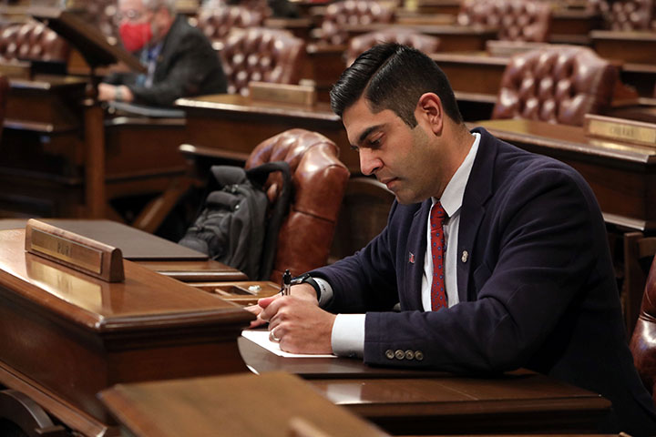 State Rep. Ranjeev Puri (D-Canton) on the House floor March 10, 2021.