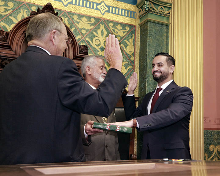 After winning a special election in November, State Rep. Abraham Aiyash (D-Detroit) was sworn into office by Clerk Gary Randall on November 19, 2020.