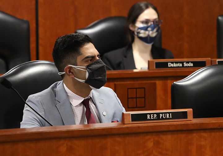 Newly-elected state Rep. Ranjeev Puri (D-Canton) listens to testimony in the House Transportation Committee on February 9, 2021.