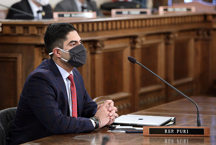 Newly-elected state Rep. Ranjeev Puri (D-Canton) listens to testimony in committee on February 10, 2021.