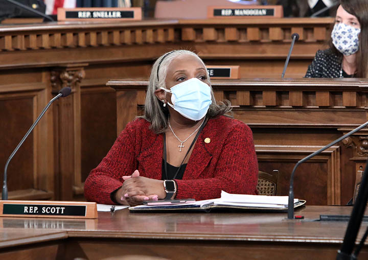 State Rep. Helena Scott (D-Detroit) in committee on February 10, 2021.