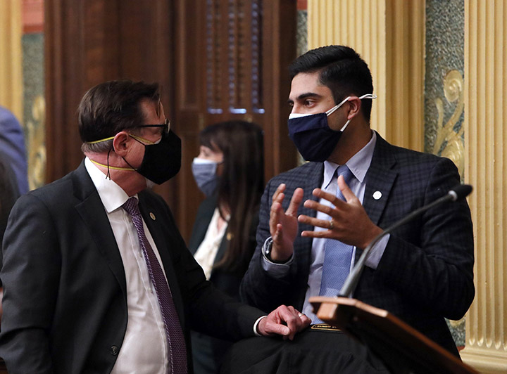 State Rep. Ranjeev Puri (D-Canton) discusses legislation on the House floor February 3, 2021.