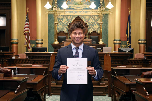 State Representative Shri Thanedar (D-Detroit) after his swearing-in ceremony on November 30, 2020.