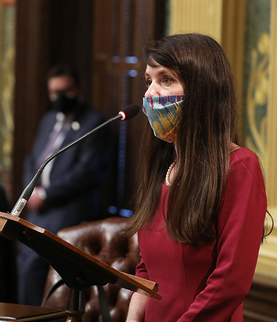 State Representative Christine Morse (D-Portage) speaks to House Resolution 39, a resolution to recognize the life-saving work and innovation of employees in Michigan and around the country working to manufacture and distribute the COVID-19 vaccine, on February 24, 2021.