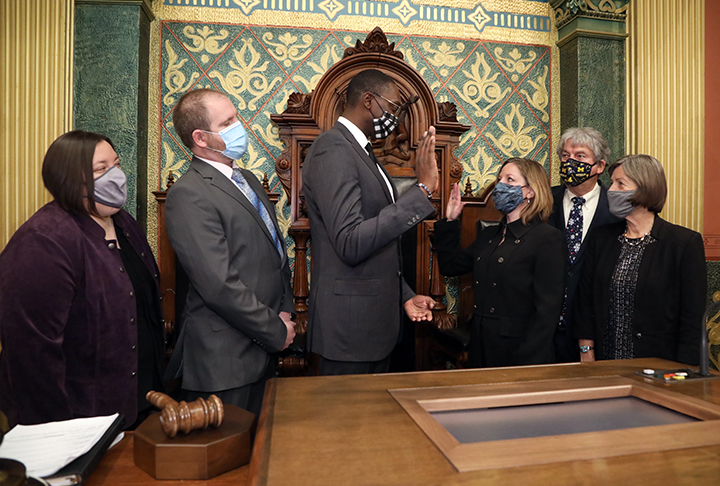 Lieutenant Governor Garlin Gilchrist swore in newly-elected state Representative Julie M. Rogers (D-Kalamazoo) on December 3, 2020.