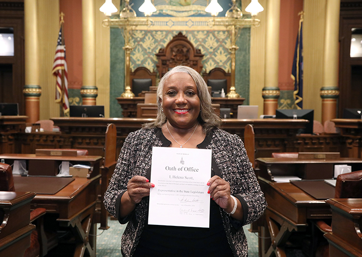 Newly-elected State Representative Helena Scott (D-Detroit) with her Oath of Office on the House floor December 3, 2020.