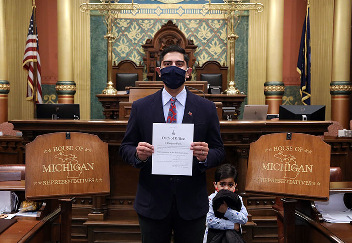 Newly-elected state Rep. Ranjeev Puri (D-Canton) with his Oath of Office after being sworn in on December 16, 2020.