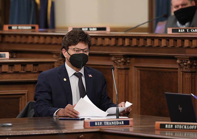 State Representative Shri Thanedar (D-Detroit) listens to testimony in the House Appropriations Committee on January 27, 2021.