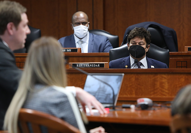 State Rep. Shri Thanedar (D-Detroit) listens to testimony in the House Appropriations Subcommittee on Health and Human Services on January 27, 2021.