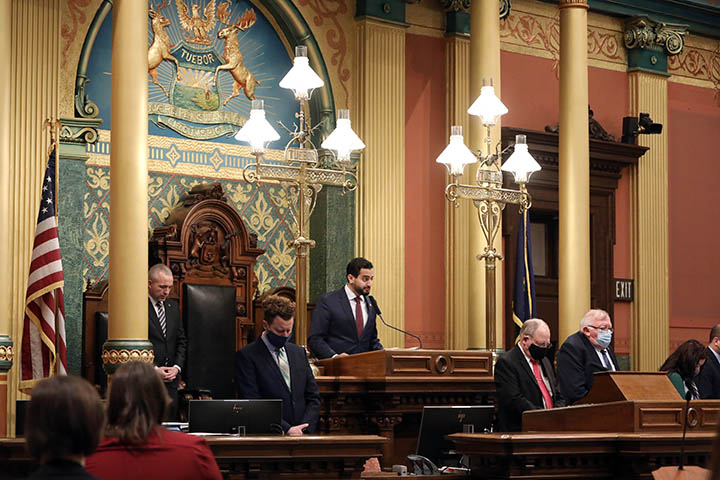 State Rep. Abraham Aiyash (D-Detroit) delivered the invocation at the start of session on February 2, 2021.