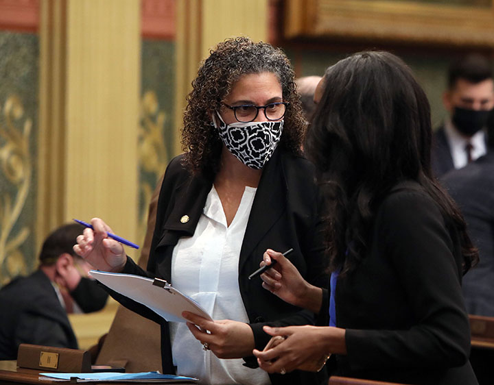 State Rep. Felicia Brabec (D-Ann Arbor) discusses legislation on the House floor on February 3, 2021.