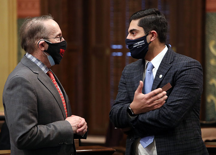 State Rep. Ranjeev Puri (D-Canton) discusses legislation on the House floor February 3, 2021