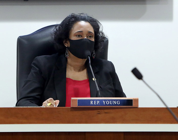 State Rep. Stephanie Young (D-Detroit) listens to testimony in committee on February 4, 2021.
