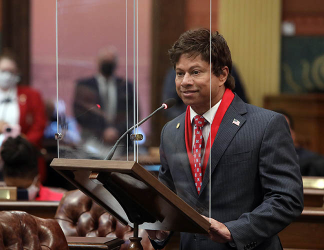 State Rep. Shri Thanedar (D-Detroit) speaks in support of small businesses during debate on a budget supplemental in the House on February 4, 2021.