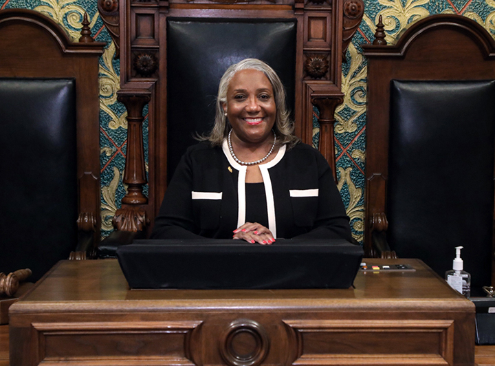 State Rep. Helena Scott (D-Detroit) at the first day of session on January 13, 2021.
