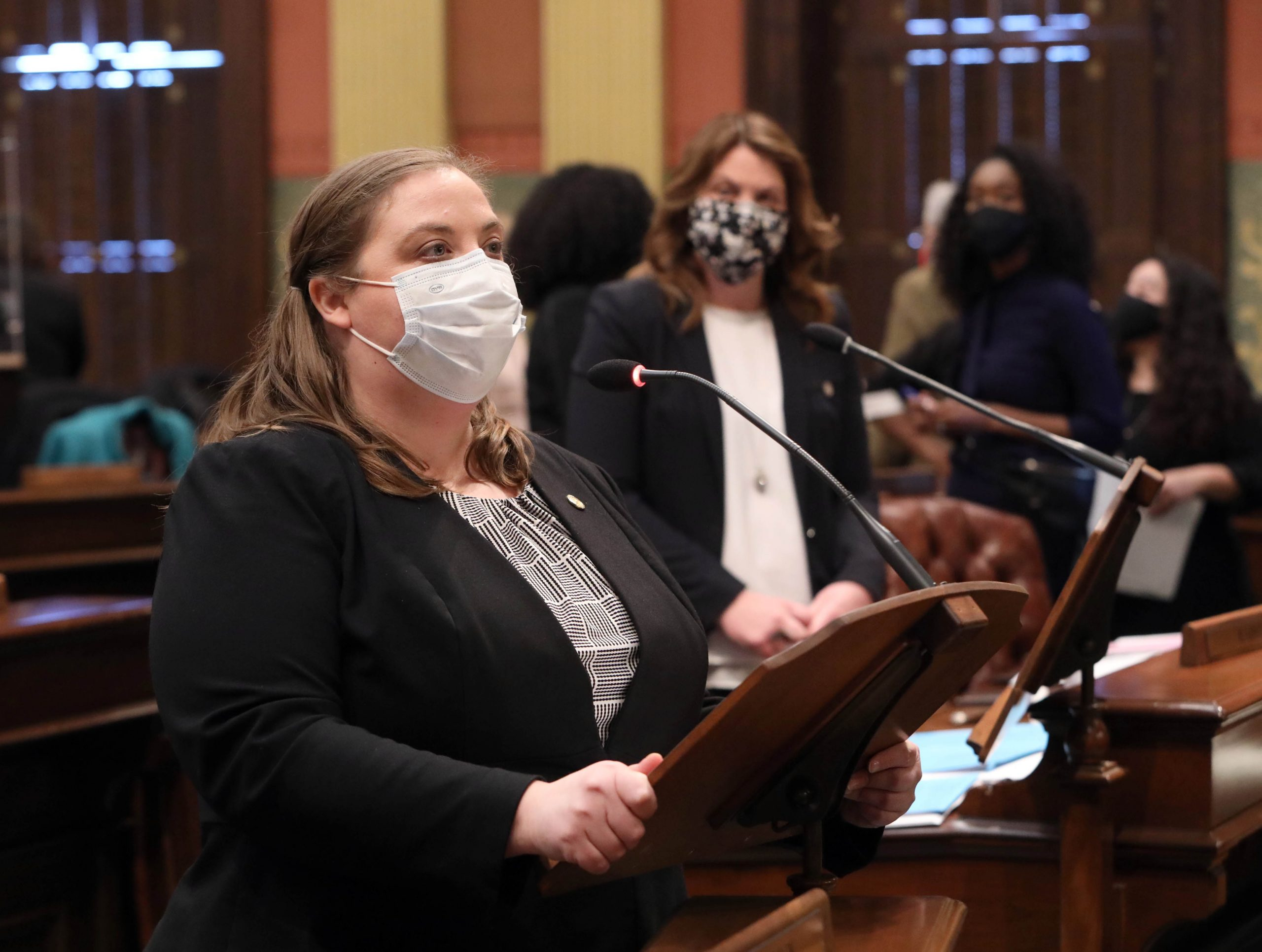 State Rep. Lori Stone speaking in support of her March is Reading Month Resolution on Tuesday, March 2, 2021.