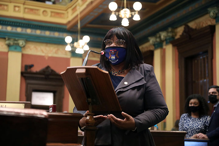 State Rep. Brenda Carter (D-Pontiac) spoke on the House floor March 25, 2021.